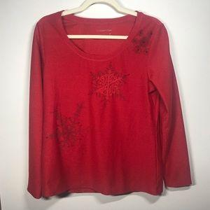 COLDWATER CREEK Festive Holiday Top, Size M 10/12
